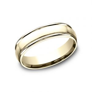 Benchmark 18k Yellow Gold 6mm Sculpted Design Polished Wedding Band