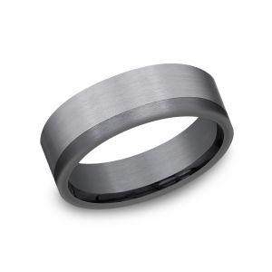 Benchmark Ammara Stone Dark Tantalum and Grey Tantalum 7mm Two-Tone Wedding Band