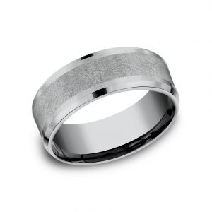 Benchmark Tantalum Collection Grey Tantalum 8mm Sculpted Design Wedding Band