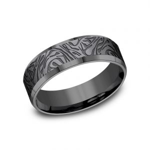 Benchmark Dark Tantalum Mokume 7mm Sculpted Design Wedding Band