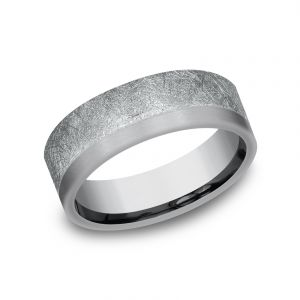 Benchmark Ammara Stone Two-Tone 14k White Gold and Dark Tantalum 7mm Wedding Band