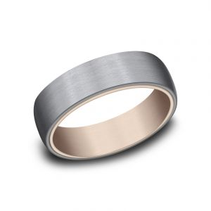 Benchmark Ammara Stone Grey Tantalum and 14k Rose Gold 6.5mm Sculpted Design Wedding Band