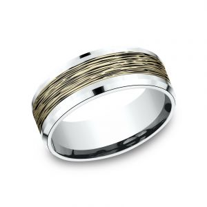 Benchmark 14k White and Yellow Gold 8mm Sculpted Design Wedding Band