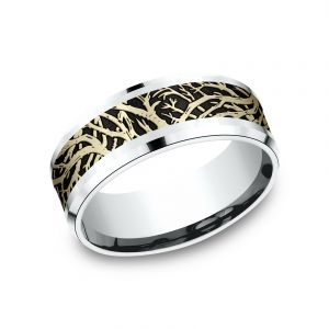 Benchmark 14k Two Tone 8mm Sculpted Design Wedding Band