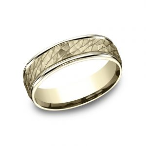 Benchmark 6.5mm 14k Yellow Gold Sculpted Pebble Design Wedding Band