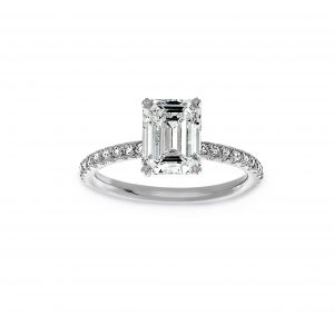 Norman Silverman Emerald Cut And Pave Diamond Engagement Ring