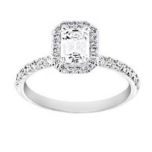 TWO by London Emerald Cut Diamond Chiquito Halo Engagement Ring