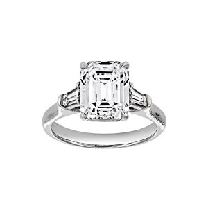 Norman Silverman Emerald Cut Trapezoid Diamond Three Stone Engagement Ring