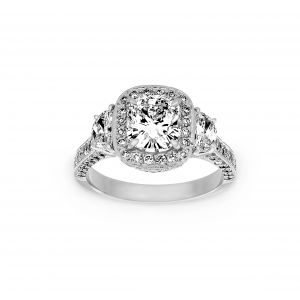 Norman Silverman Three Stone Cushion Halo And Half Moon Diamond Engagement Ring