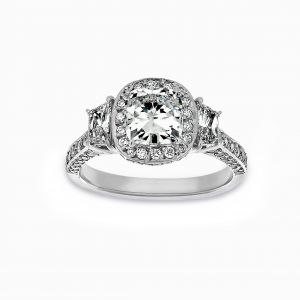 Norman Silverman Three Stone Cushion Halo And Trapezoid Diamond Engagement Ring
