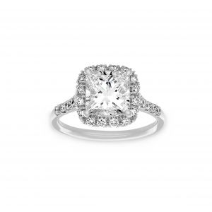 Norman Silverman Princess Cut Cushion Halo Pave Diamond Engagement Ring