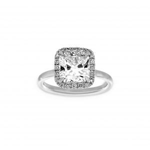 Norman Silverman Cushion Cut Cushion Halo Pave Diamond Polished Band Engagement Ring
