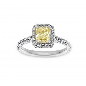 Norman Silverman Fancy Yellow Radiant Cut Cushion Halo Pave Diamond Engagement Ring