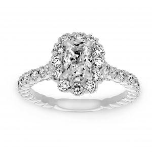 Henri Daussi Cushion Cut Diamond Center Halo Engagement Ring