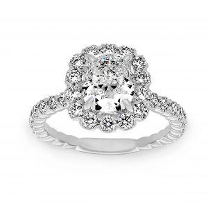 Henri Daussi Cushion Diamond Flower Halo Engagement Ring
