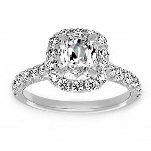 Henri Daussi Diamond Halo Cushion Engagement Ring