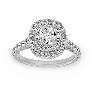 Henri Daussi Cushion Cut Diamond Double Halo Engagement Ring