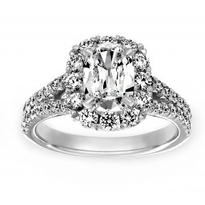 Henri Daussi Cushion Pave Diamond Halo Split Shank Engagement Ring