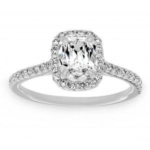 Henri Daussi Cushion Solitaire Diamond Pavé Halo Engagement Ring