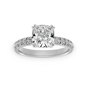 Harry Kotlar Chevron Pave Diamond Solitaire Engagement Ring