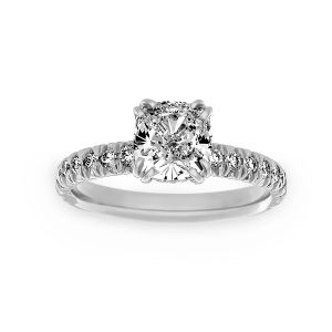 Harry Kotlar French Cut Artisan Pave Diamond Solitaire Engagement Ring