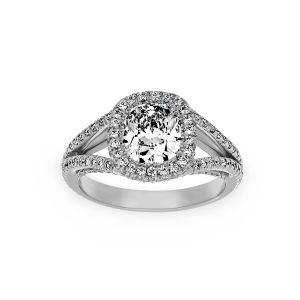 Harry Kotlar Split Shank Pave Diamond Cushion Engagement Ring