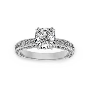 Harry Kotlar Scalloped Artisan Pave Cushion Diamond Solitaire Engagement Ring