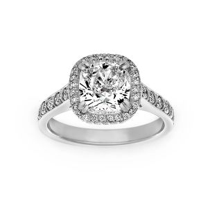 Harry Kotlar Artisan Pave Cushion Diamond Halo Engagement Ring