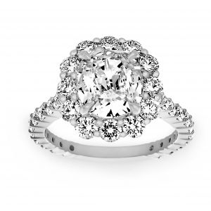 Henri Daussi Cushion Diamond Solitaire Pavé Ballerina Halo Engagement Ring