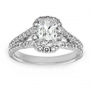 Henri Daussi Rectangular Cushion Cut Diamond Halo Split Shank Engagement Ring