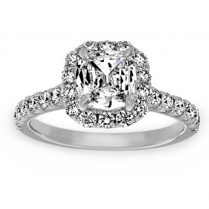 Henri Daussi Engagement Ring With Pave Diamond Halo