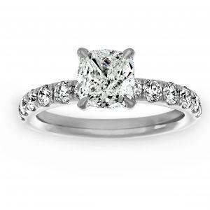Henri Daussi Cushion Diamond Solitaire Pave Engagement Ring