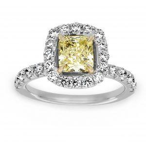 Henri Daussi Fancy Yellow Cushion Diamond Halo Engagement Ring