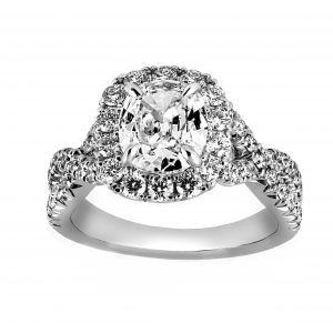 Henri Daussi Cushion Diamond Crossover Halo Engagement Ring