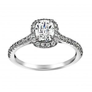Henri Daussi Cushion Diamond Cathedral Halo Engagement Ring
