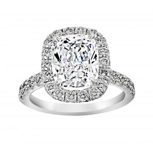 Henri Daussi Cushion Cut And Pave Diamond Engagement Ring