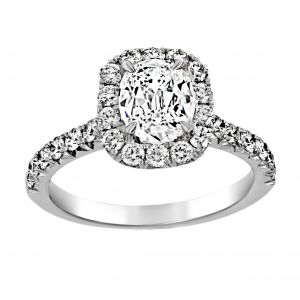 Henri Daussi Cushion Cut Pave Halo Engagement Ring