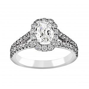 Henri Daussi Split Shank Cushion Cut Diamond Engagament Ring