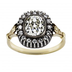 Single Stone Martine Cushion Diamond Vintage Halo Ring