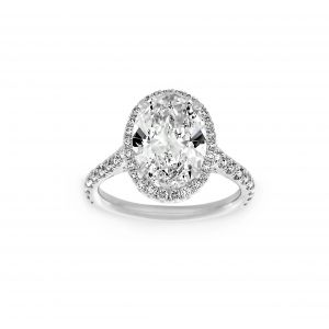 Norman Silverman Oval Diamond Pave Halo Engagement Ring