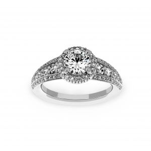 Ritani Round Halo Three Row Pave Diamond Engagement Ring