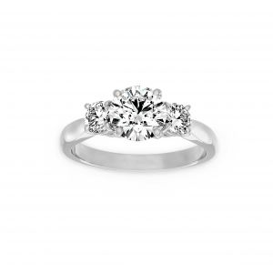 Norman Silverman Three Stone Round Diamond Engagement Ring