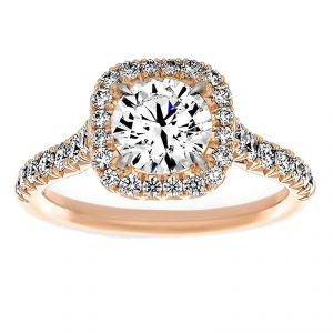 TWO by London Pave Cushion Halo Round Diamond Engagement Ring