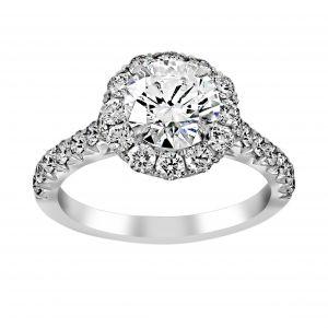Henri Daussi Round Pave Diamond Halo and Shank Engagement Ring