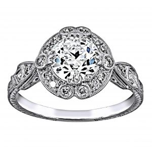 Single Stone Celeste Round Diamond Halo Engagement Ring