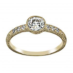 Single Stone Adriene Old Mine Cut Diamond Halo Engagement Ring