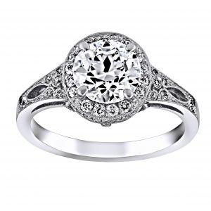 Single Stone Sasha Diamond Halo Engagement Ring