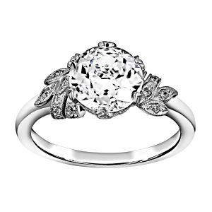 Single Stone Allison Diamond Floral Engagement Ring
