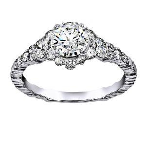 Forevermark Round Diamond Tapered Halo Engagement Ring