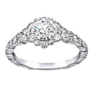 TWO by London Round Diamond Tapered Halo Engagement Ring